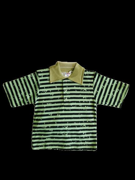 Арт. 21926, Детская рубашка цветная Поло (рибана) ЗЕЛЕНЫЙ ПОЛОСКИ