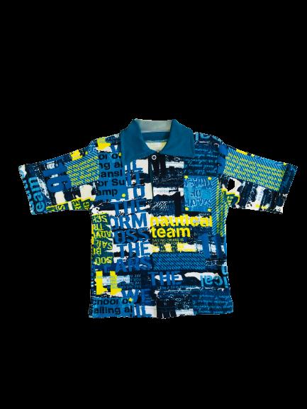 Арт. 21926, Детская рубашка цветная Поло (рибана) ТЕМНО-БИРЮЗОВЫЙ НАДПИСИ