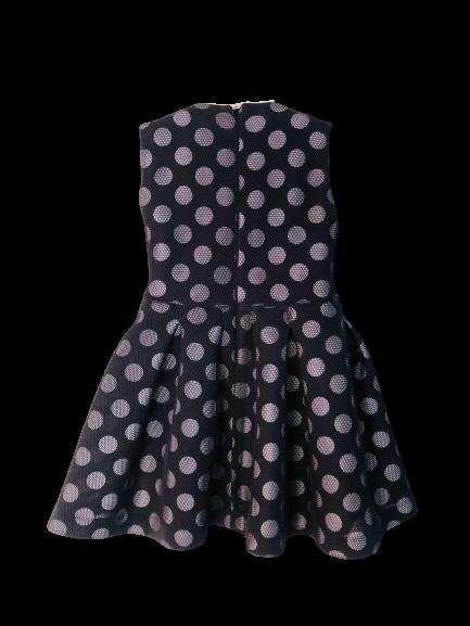 043173 Платье в горох черное (неопрен с сеткой) РАЗМЕР 140