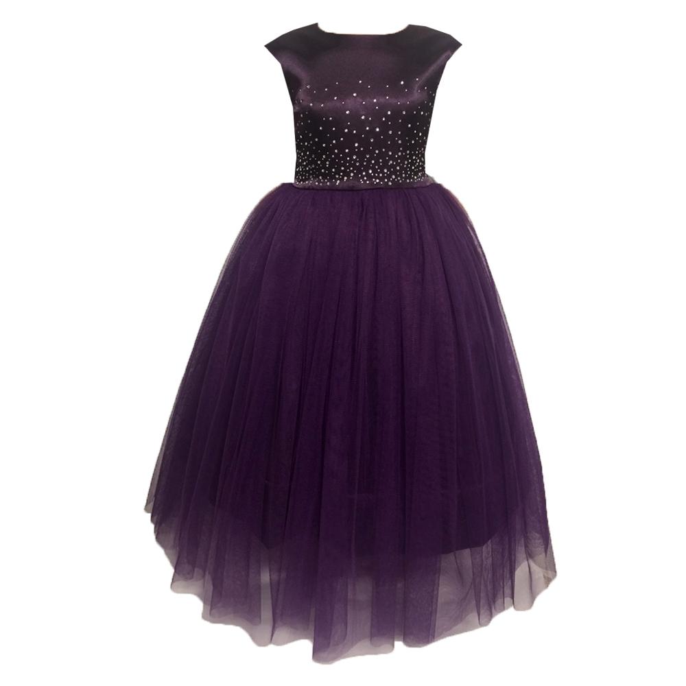 61961 Платье вечернее (атлас+фатин) ФИОЛЕТОВЫЙ