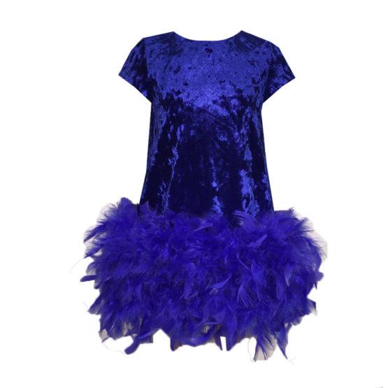 620109 Платье (бархат) СИНИЙ