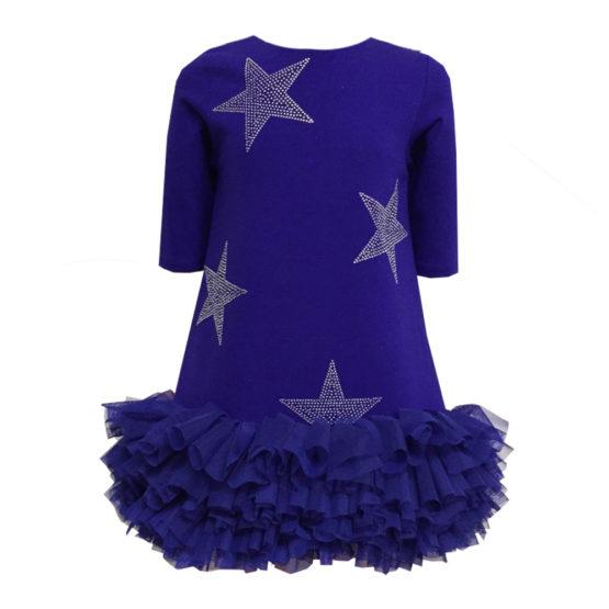 62452 Платье со звездами (лакоста) СИНИЙ