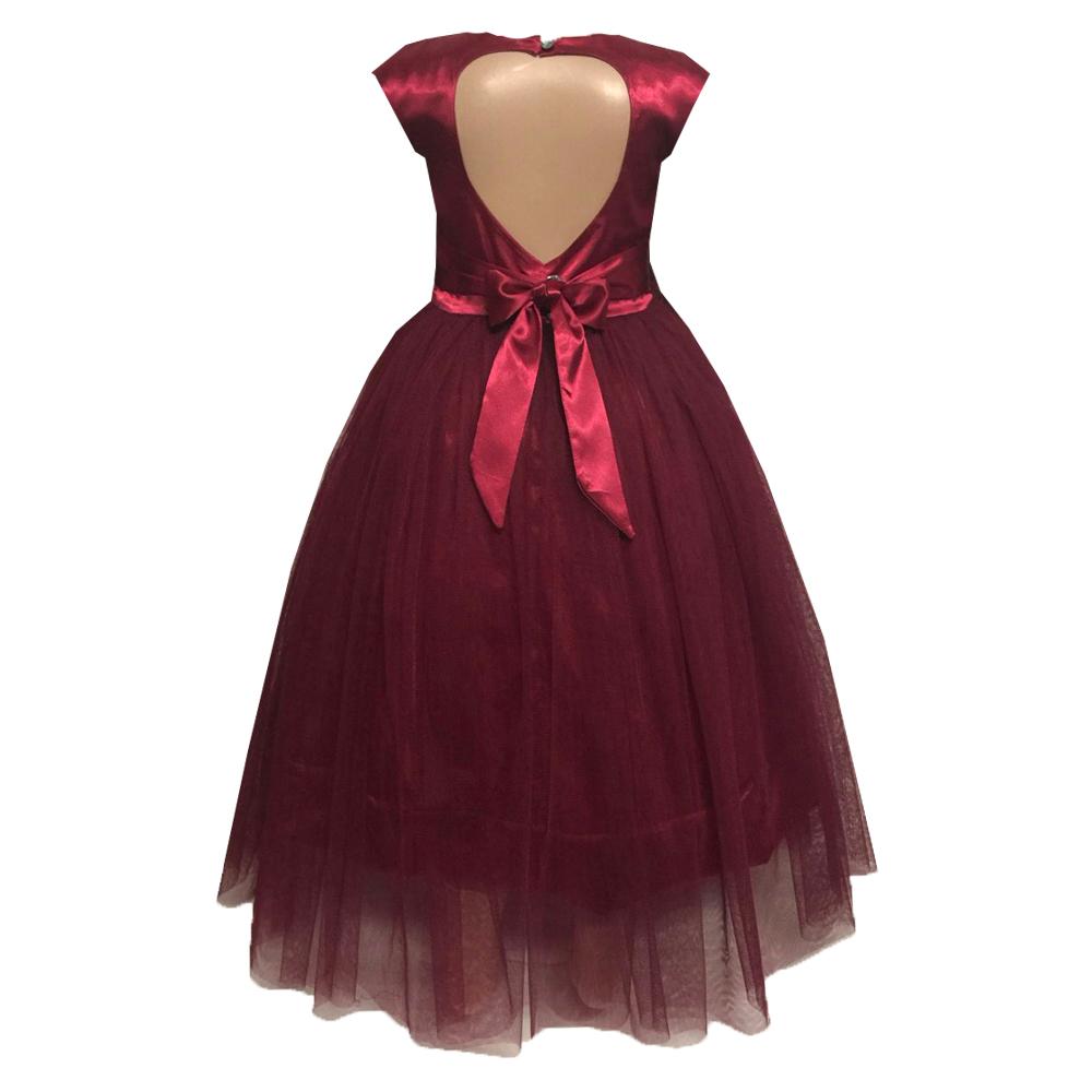 61961 Платье вечернее (атлас+фатин) БОРДОВЫЙ