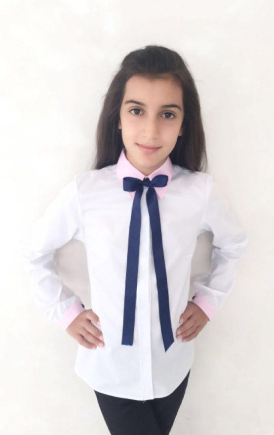 55287 Рубашка с бантиком (поплин)