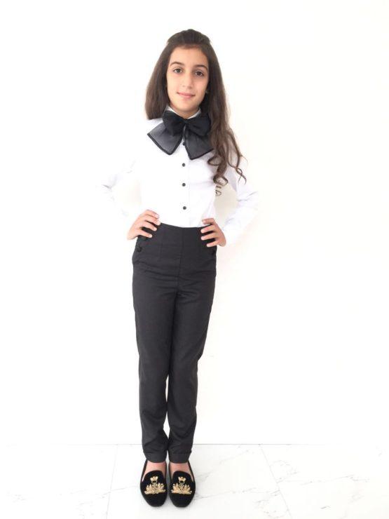 55478 Брюки с завышенной талией для девочки (костюмная) ТЕМНО-СИНИЙ