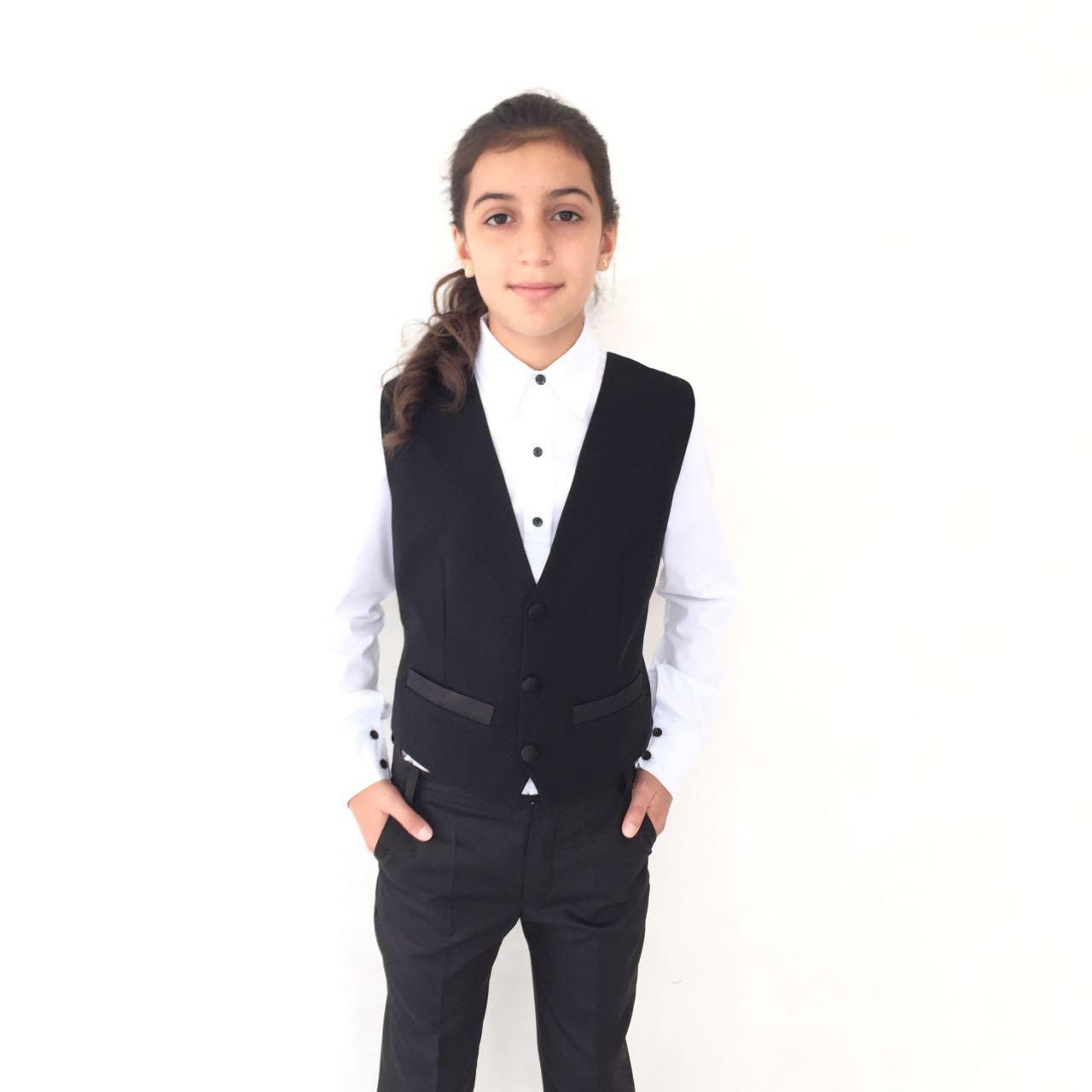 54378 Брюки для девочки (костюмная) ТЕМНО-СИНИЙ