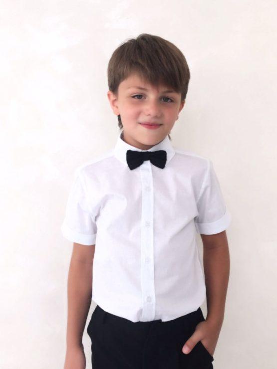 54987 Рубашка для мальчика короткий рукав (поплин) БЕЛЫЙ