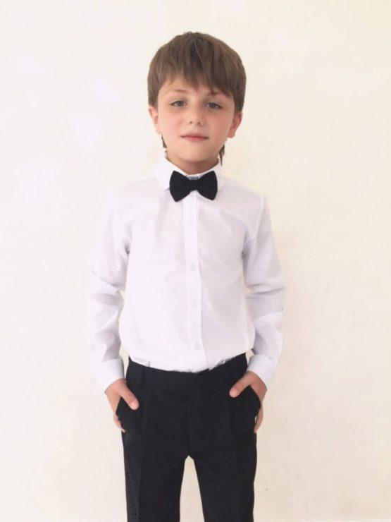 55087 Рубашка для мальчика длинный рукав (поплин) БЕЛЫЙ