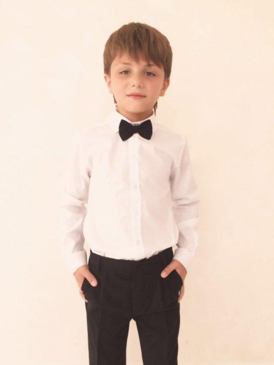 55087 Рубашка для мальчика длинный рукав (поплин) МОЛОЧНЫЙ