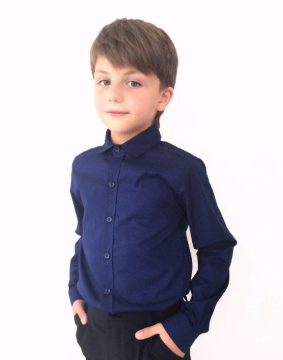 55087 Рубашка для мальчика длинный рукав (поплин) СИНИЙ
