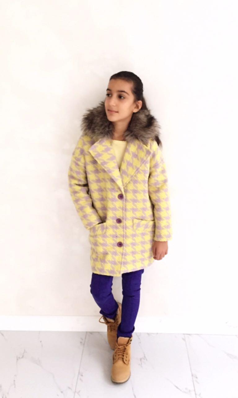 00591100 Пальто зимнее утепленное (полушерсть «гусиные лапки») ЖЕЛТЫЙ