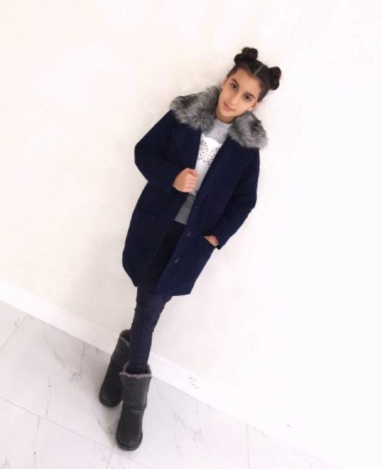 57597 Брюки для девочки (замша) ТЕМНО-СИНИЙ