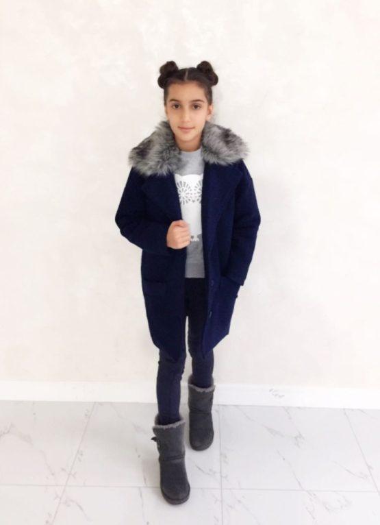 0591100 Пальто детское зимнее утепленное (полушерсть) ТЕМНО-СИНИЙ