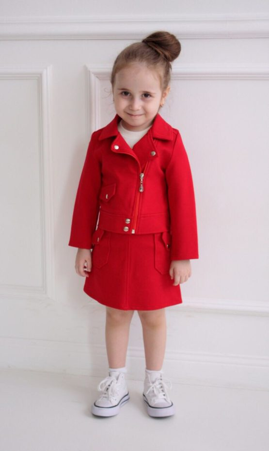 63371 Костюм куртка+юбка (плотный трикотаж) КРАСНЫЙ