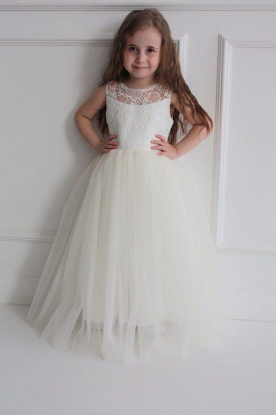 68761 Платье «Нежное» (атлас+фатин+органза) МОЛОЧНЫЙ