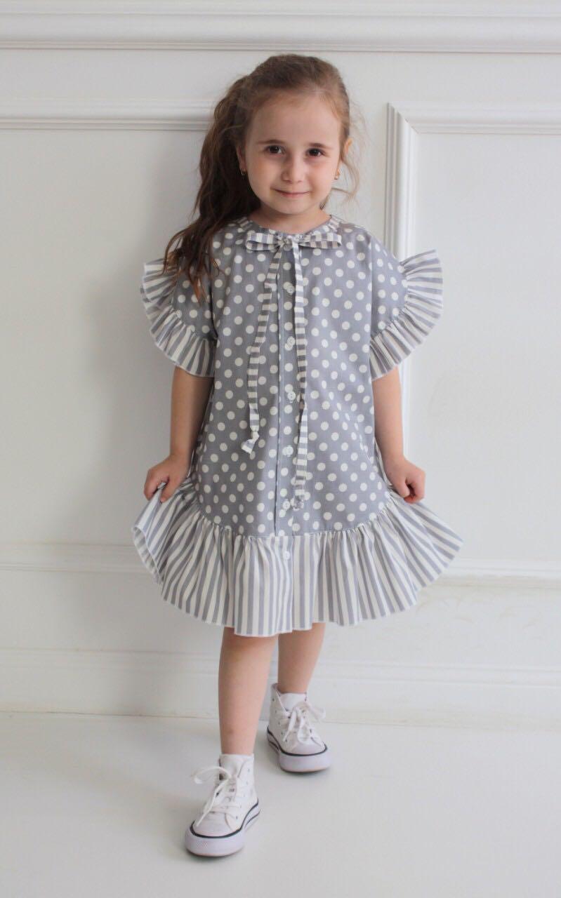 66687 Платье с валаном (поплин) СЕРЫЙ