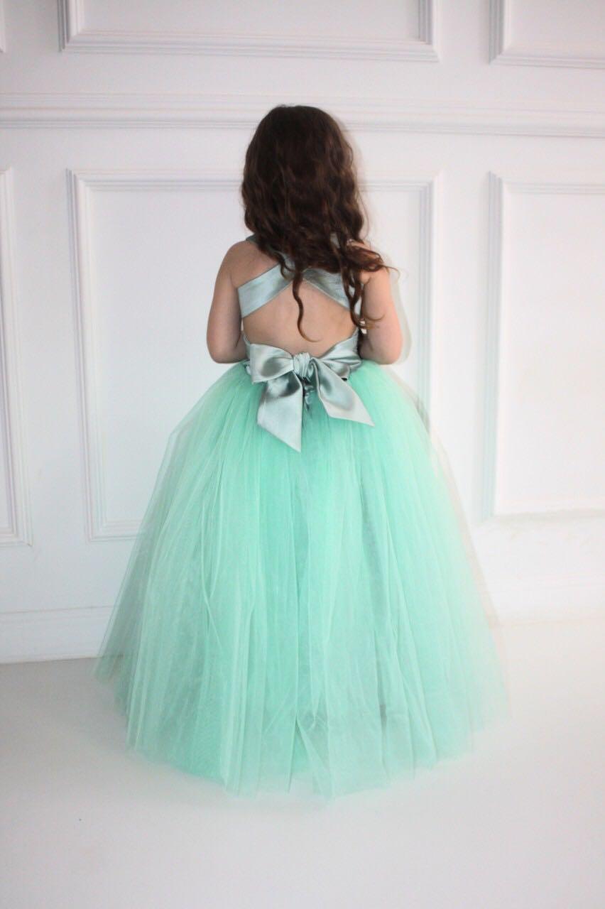 68661 Платье (атлас+фатин) БИРЮЗОВЫЙ