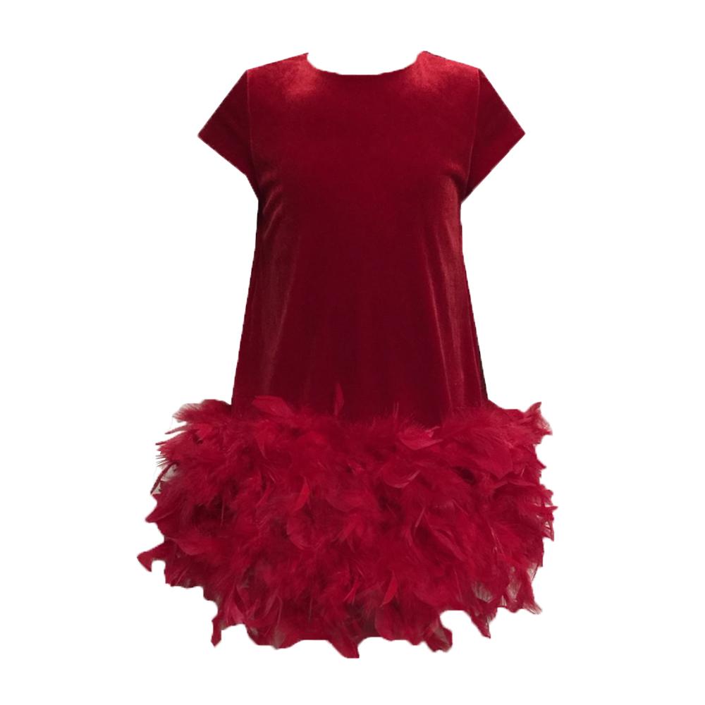 620109 Платье (бархат) КРАСНЫЙ