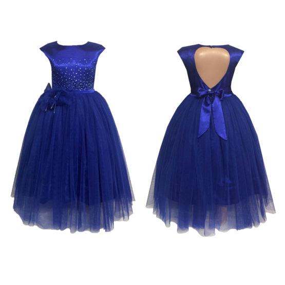61961 Платье вечернее (атлас+фатин) СИНИЙ (размер 104)