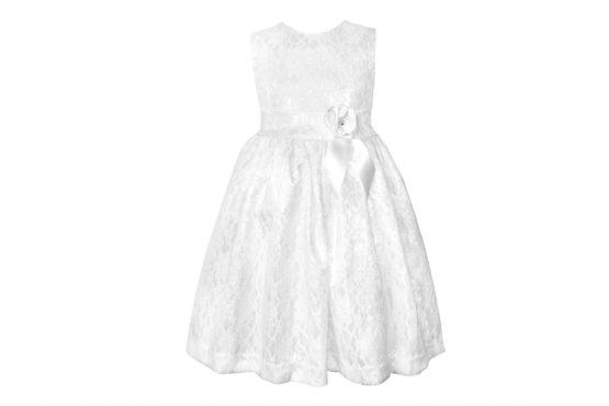 42361 Платье белое (гипюр+атлас) (размер 122)