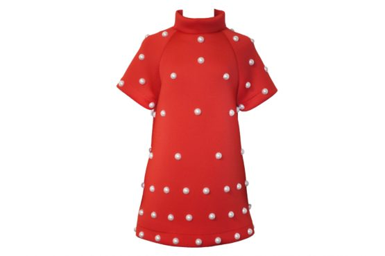 42570 Платье с жемчугом красное (неопрен)