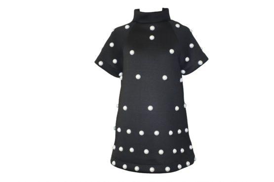42570 Платье с жемчугом темно-синее (неопрен)