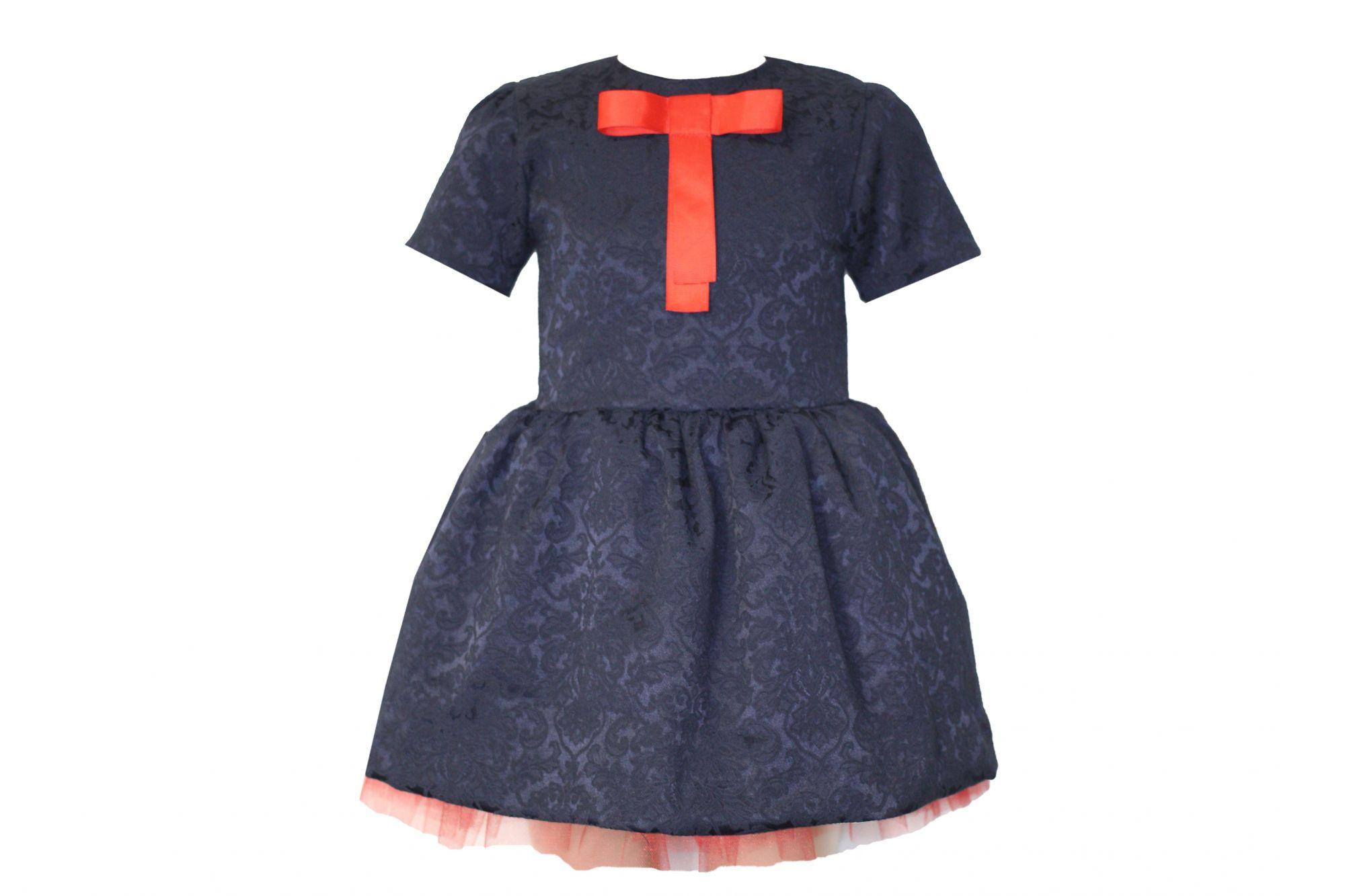 42669 Платье темно-синее (жаккард)