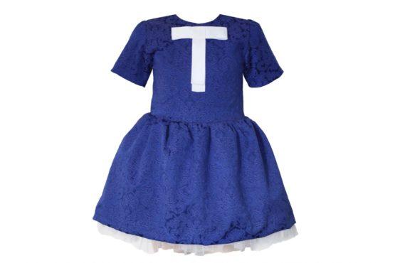 42669 Платье синее (жаккард)