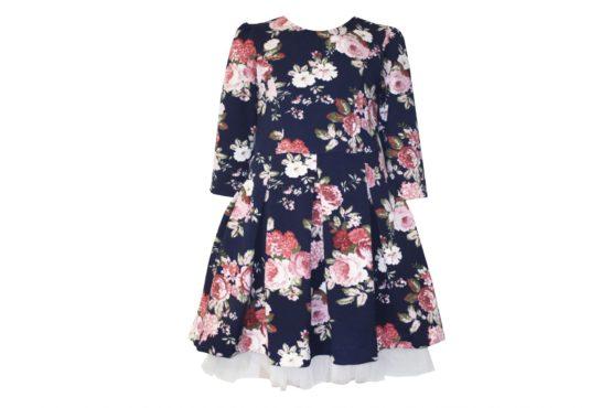 42871 Платье расцветка цветы (плотный трикотаж)