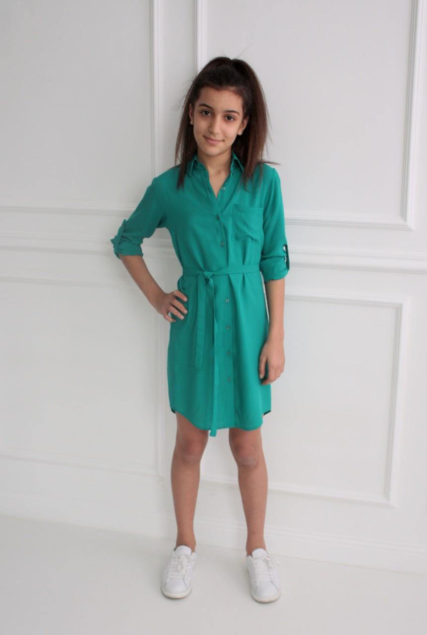 46050 Платье-рубашка (штапель) ЗЕЛЕНЫЙ