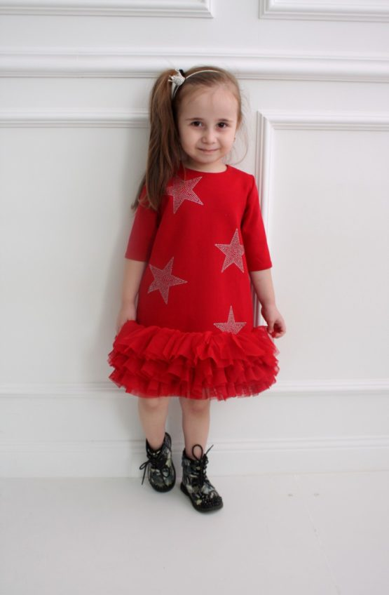 62452 Платье со звездами (лакоста) КРАСНЫЙ