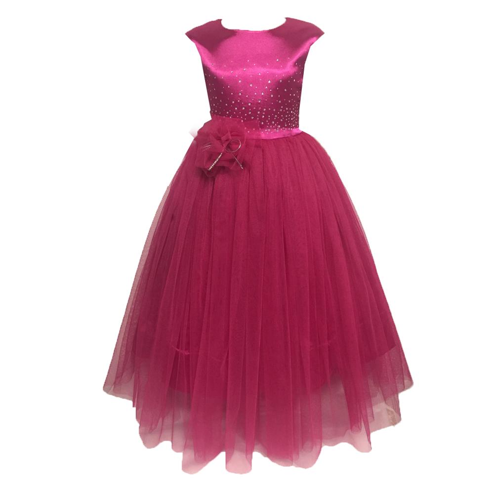 61961 Платье вечернее (атлас+фатин) МИКС