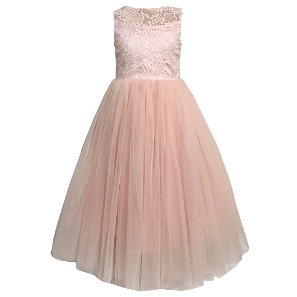 68761 Платье «Нежное» (атлас+фатин+органза) ПЕРСИКОВЫЙ