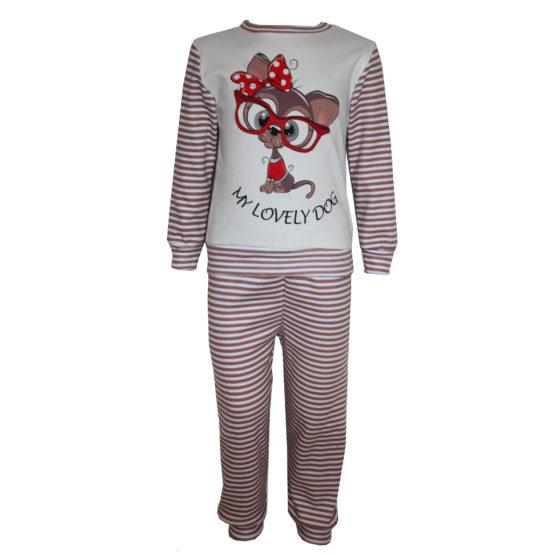 594101 Пижама комбинированная с аппликацией (интерлок) МОЛОЧНЫЙ (СОБАКА)