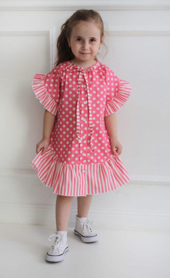 66687 Платье с валаном (поплин) РОЗОВЫЙ