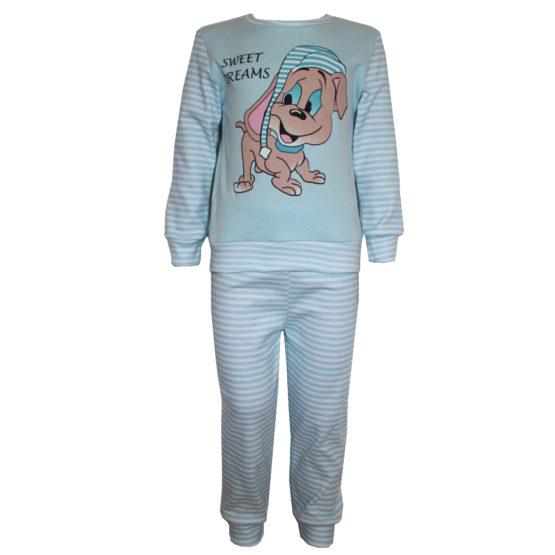 593101 Пижама комбинированная с аппликацией (интерлок) ГОЛУБОЙ (СОБАКА)