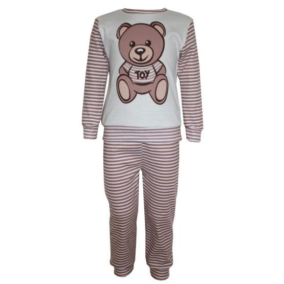 594101 Пижама комбинированная с аппликацией (интерлок) МОЛОЧНЫЙ (МИШКА)