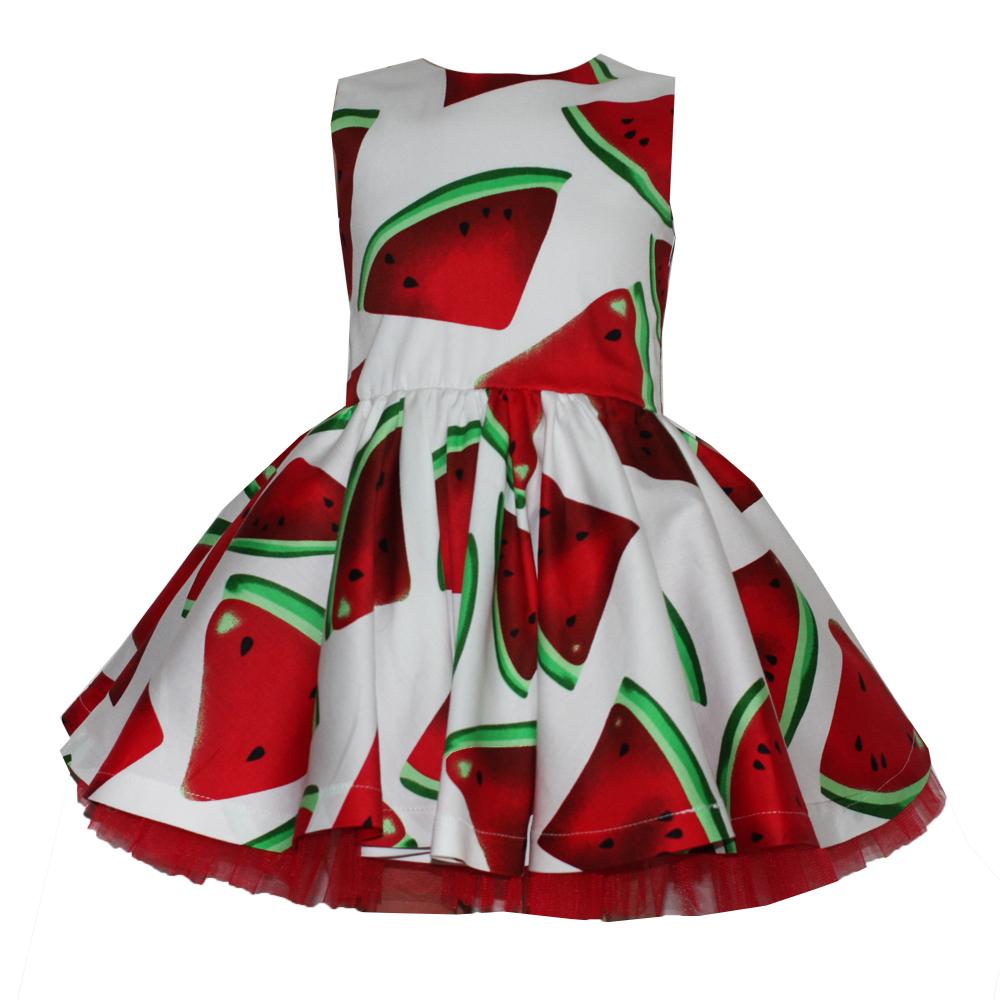 66087 Платье (поплин) АРБУЗ НА БЕЛОМ ФОНЕ