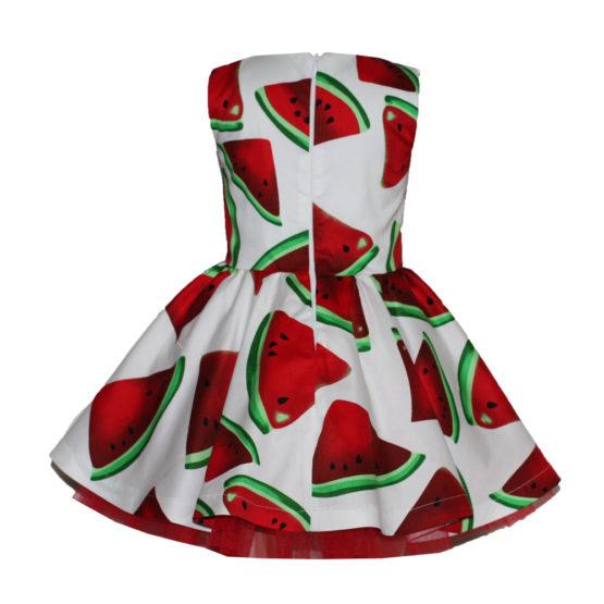 066087 Платье (поплин) АРБУЗ НА БЕЛОМ ФОНЕ
