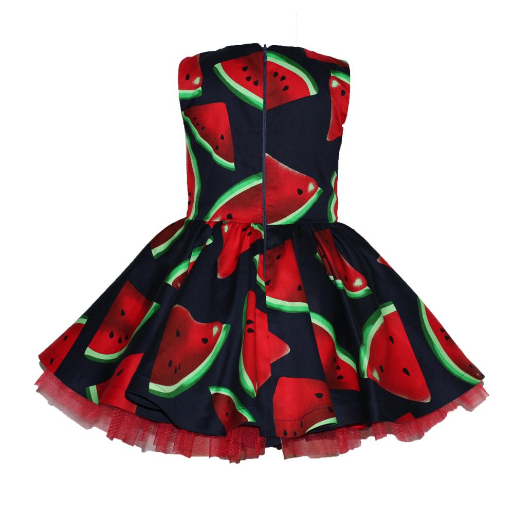 66087 Платье (поплин) АРБУЗ НА ТЕМНО-СИНЕМ ФОНЕ