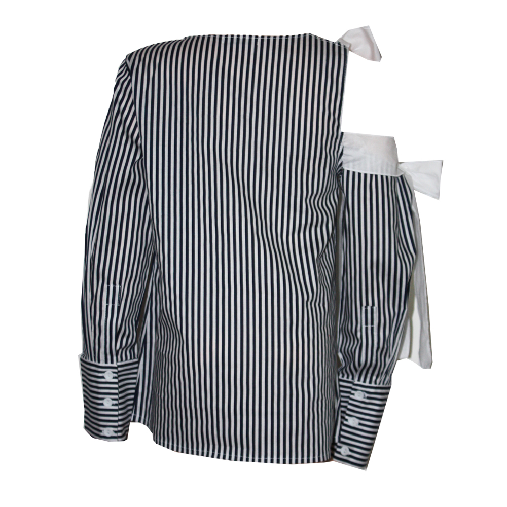 65887 Блуза с открытым плечом (поплин) ЧЕРНЫЙ