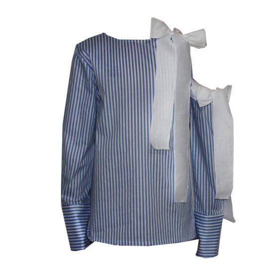 65887 Блуза с открытым плечом (поплин) СИНИЙ