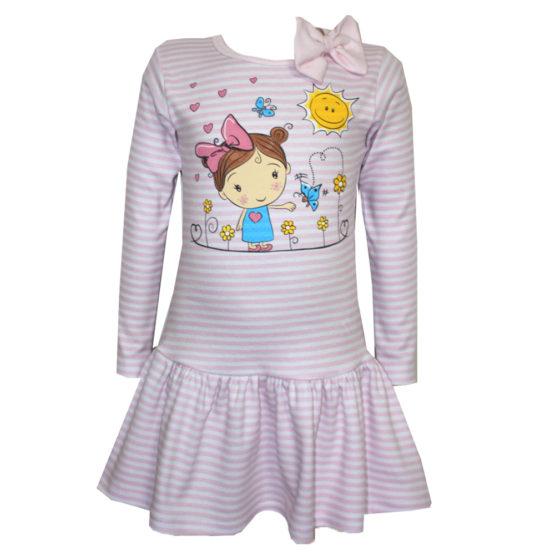 0039548 Детское полосатое платье с аппликацией (интерлок) РОЗОВЫЙ