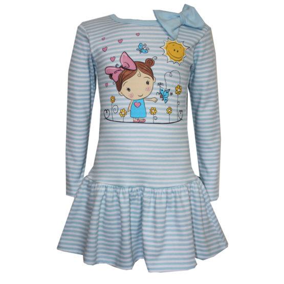 0039548 Детское полосатое платье с аппликацией (интерлок) ГОЛУБОЙ