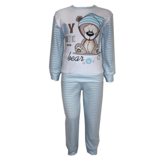 594101 Пижама комбинированная с аппликацией (интерлок) ГОЛУБОЙ (МИШКА)