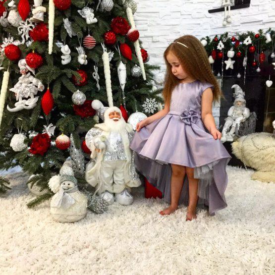 0621110 Платье (плотный атлас) СЕРЫЙ