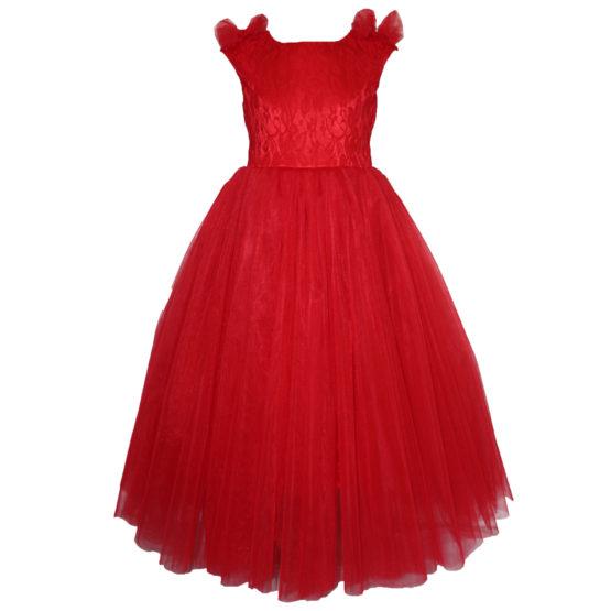 61961 Платье вечернее (атлас+фатин) КРАСНЫЙ (размер 140)