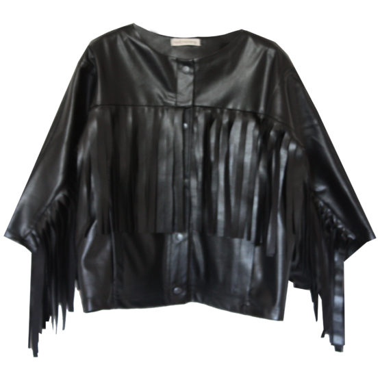 70875 Куртка с бахромой (экокожа) ЧЕРНЫЙ