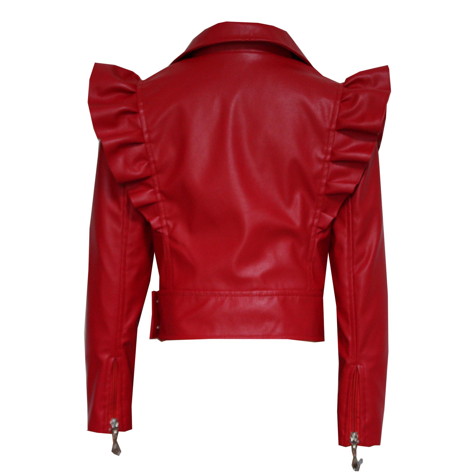 070775 Куртка с молниями (экокожа) КРАСНЫЙ