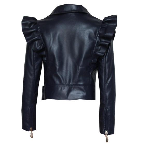 70775 Куртка с молниями (экокожа) ТЕМНО-СИНИЙ